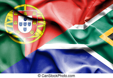 Waving flag of South Africa and Portugal