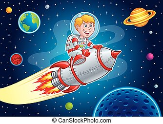 Rocket Kid Blasting Through Space - Cartoon illustration of...