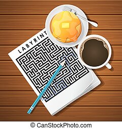 illustration of labyrinth game with coffee cup and pancake -...