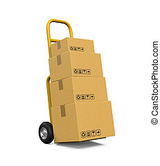 Hand Truck with Cardboard Boxes isolated on white...