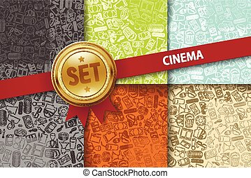 Set of cinema backgrounds with doodle icons in different colors
