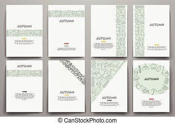 Corporate identity vector templates set with doodles autumn theme