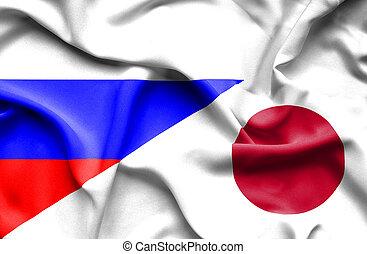 waving, bandeira, de, Japão, e, rússia,