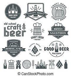 Craft beer brewery emblems, labels and design elements Black...