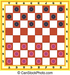 Draughts - The image of chessboard with black and red...