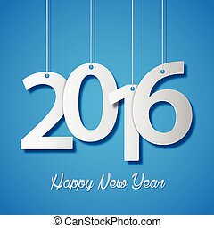 Happy new year 2016 creative greeting card design on blue background