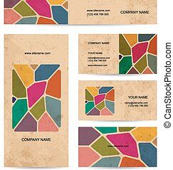 Business cards on grunge paper, stained glass design