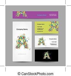 Set of business cards with floral letter A design