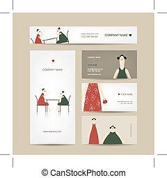 Set of business cards design, friends drink tea in cafe