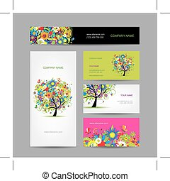 Set of cards, floral tree for your design