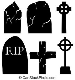 Grave Stones Set - Halloween Holiday Elements Set Collection...