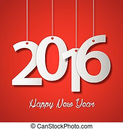 Happy new year 2016 creative greeting card design on red background