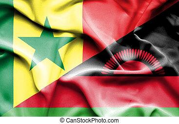Waving flag of Malawi and Senegal