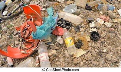 Wastes And Garbage Dumped Into Heap At Landfill At Suburbs...