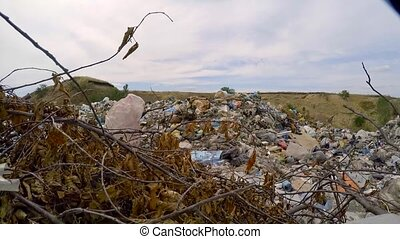 Heaps Of Domestic Garbage At Landfill In Ukraine - CLOSE UP:...