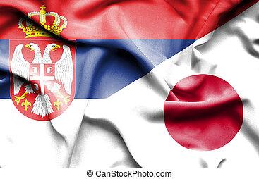 waving, bandeira, de, Japão, e, Sérvia,