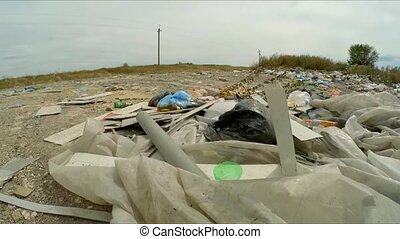 Domestic Garbage Dump At Landfill In Ukraine - CLOSE UP: Big...