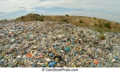 Pile Of Domestic Garbage At Landfill In Ukraine - Huge pile...