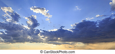 Evening sky with thunderclouds Altai Krai in Russia