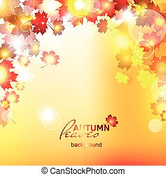 Design autumn vector frame Vector - Orange falling leaves...