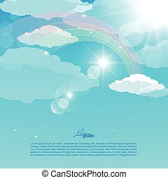 Vector abstract illustration of a sky with a rainbow, rays and sunlight, air, white clouds.