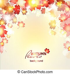 Vector illustration of beautiful autumn background with sun...