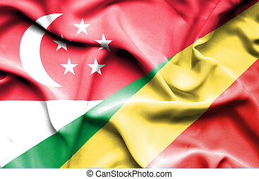 Waving flag of Congo Republic and Singapore