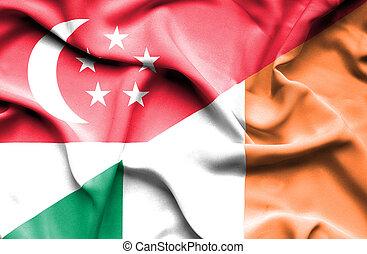 Waving flag of Ireland and Singapore