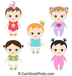 Baby girls - Vector illustration of happy and smiling baby...