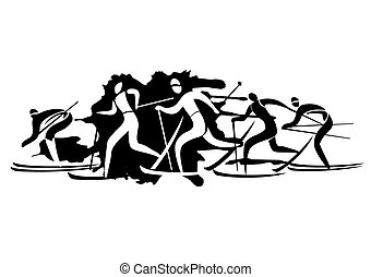 Cross-country Skiers - A stylized drawing of cross-country...