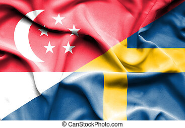 Waving flag of Sweden and Singapore