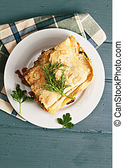 Lasagna above view - Lasagna with bolognese and bechamel on...