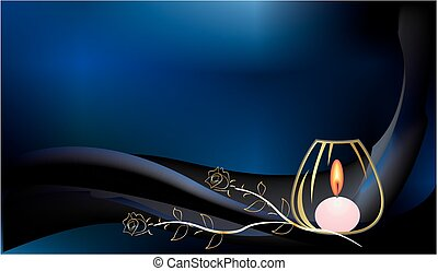 background with a candle - composition with a candle and a...