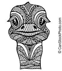 Zentangle stylized ostrich . Vector illustration isolated on...