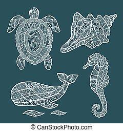 Handmade stylized set of zentangle