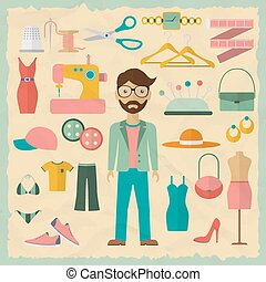 Fashion designer male character design with fashion objects....