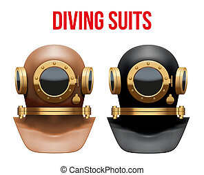 Set of Underwater diving suit helmet - Set Front view of...