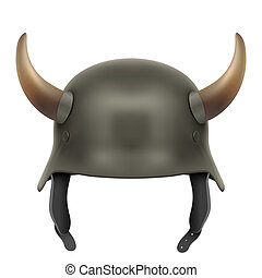 German Army helmet with horns Illustration isolated on a...