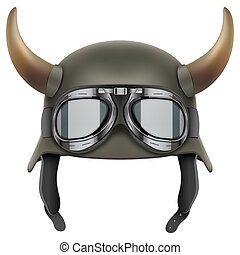 German Army helmet with horns and protective goggles....