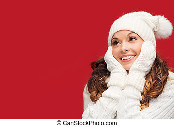 woman in hat, scarf and mittens - winter, people, happiness...