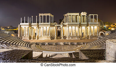 The Roman Theatre in Merida at night, Spain. Front View -...