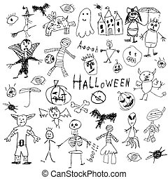 Halloween doodle - doodle halloween holiday background