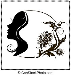 Beautiful female face silhouette in profile