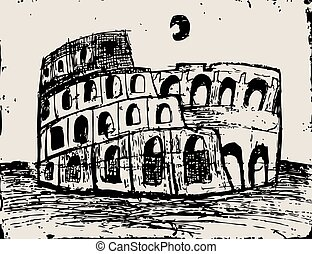 Coliseum doodle - Coliseum  hand drawn  vector illustration