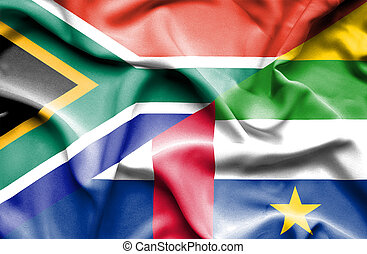 Waving flag of Central African Republic and South Africa