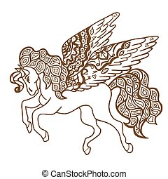 Brown Horse - Zentangle stylized Brown Horse Hand Drawn...