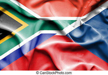 Waving flag of Czech Republic and South Africa