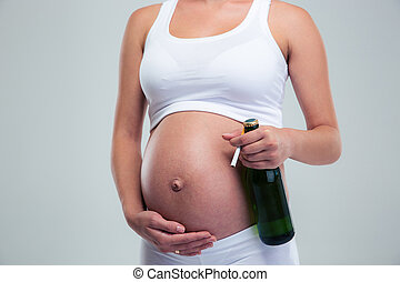 embarazada, mujer, con, cerveza, y, Cigarrillo,