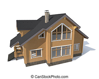 architecture model house  isolated in white 3D