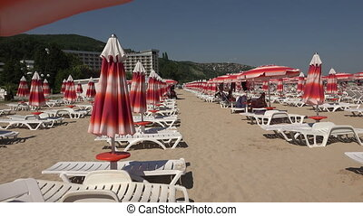 The beach in Albena. Resort Spa in Bulgaria. 4K. - The beach...